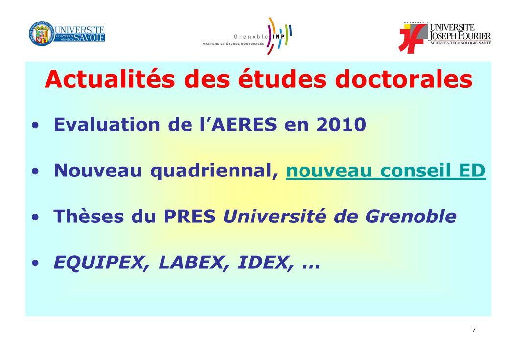 7 Actualités des études doctorales Evaluation de lAERES en 2010 Nouveau quadriennal, nouveau conseil EDnouveau conseil ED Thèses du PRES Université de Grenoble EQUIPEX, LABEX, IDEX, …