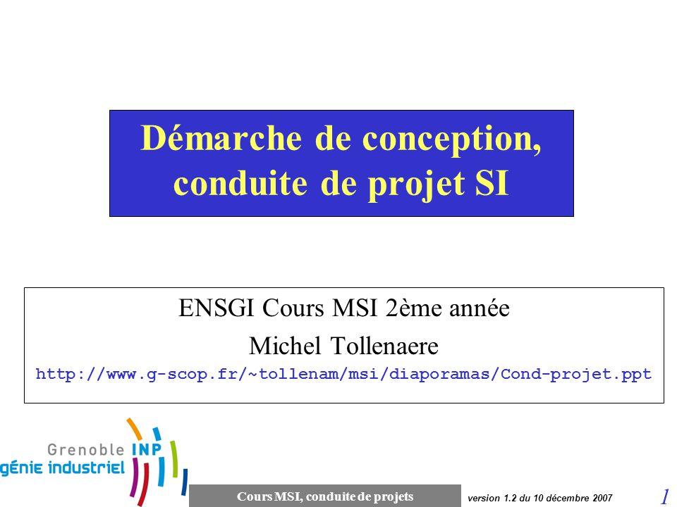 Cours MSI, conduite de projets 22 version 1.2 du 10 décembre 2007 Cycles en SI (cycle en V) Modèle du cycle en V Le principe de ce modèle est qu avec toute décomposition doit être décrite la recomposition, et que toute description d un composant est accompagnée de tests qui permettront de s assurer qu il correspond à sa description.