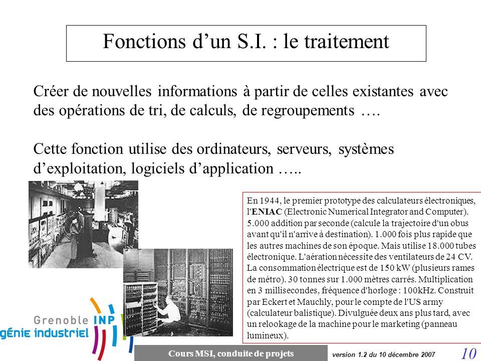 Cours MSI, conduite de projets 10 version 1.2 du 10 décembre 2007 Fonctions dun S.I. : le traitement Créer de nouvelles informations à partir de celle