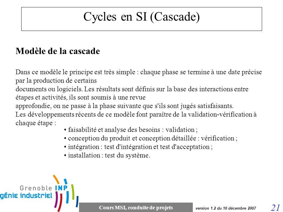 Cours MSI, conduite de projets 21 version 1.2 du 10 décembre 2007 Cycles en SI (Cascade) Modèle de la cascade Dans ce modèle le principe est très simp