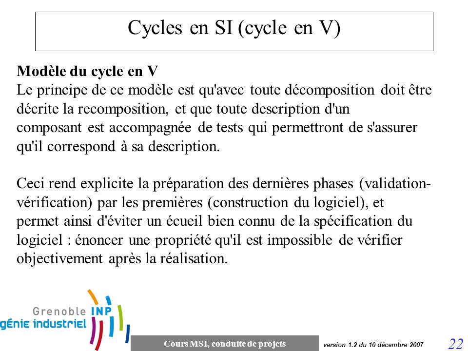 Cours MSI, conduite de projets 22 version 1.2 du 10 décembre 2007 Cycles en SI (cycle en V) Modèle du cycle en V Le principe de ce modèle est qu'avec