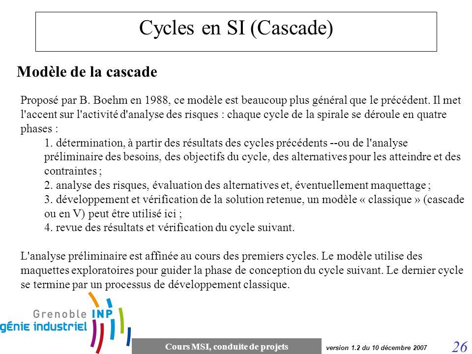Cours MSI, conduite de projets 26 version 1.2 du 10 décembre 2007 Cycles en SI (Cascade) Modèle de la cascade Proposé par B. Boehm en 1988, ce modèle