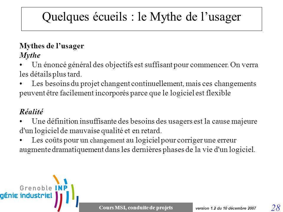 Cours MSI, conduite de projets 28 version 1.2 du 10 décembre 2007 Quelques écueils : le Mythe de lusager Mythes de lusager Mythe Un énoncé général des