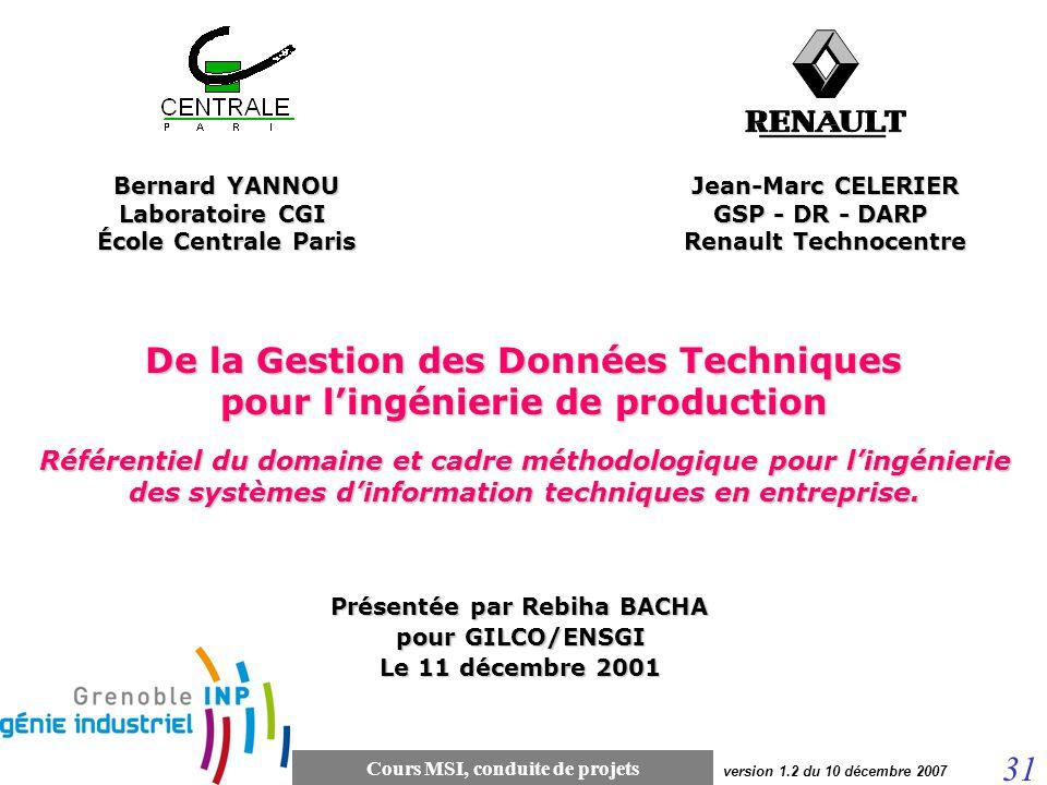 Cours MSI, conduite de projets 31 version 1.2 du 10 décembre 2007 De la Gestion des Données Techniques pour lingénierie de production Référentiel du d