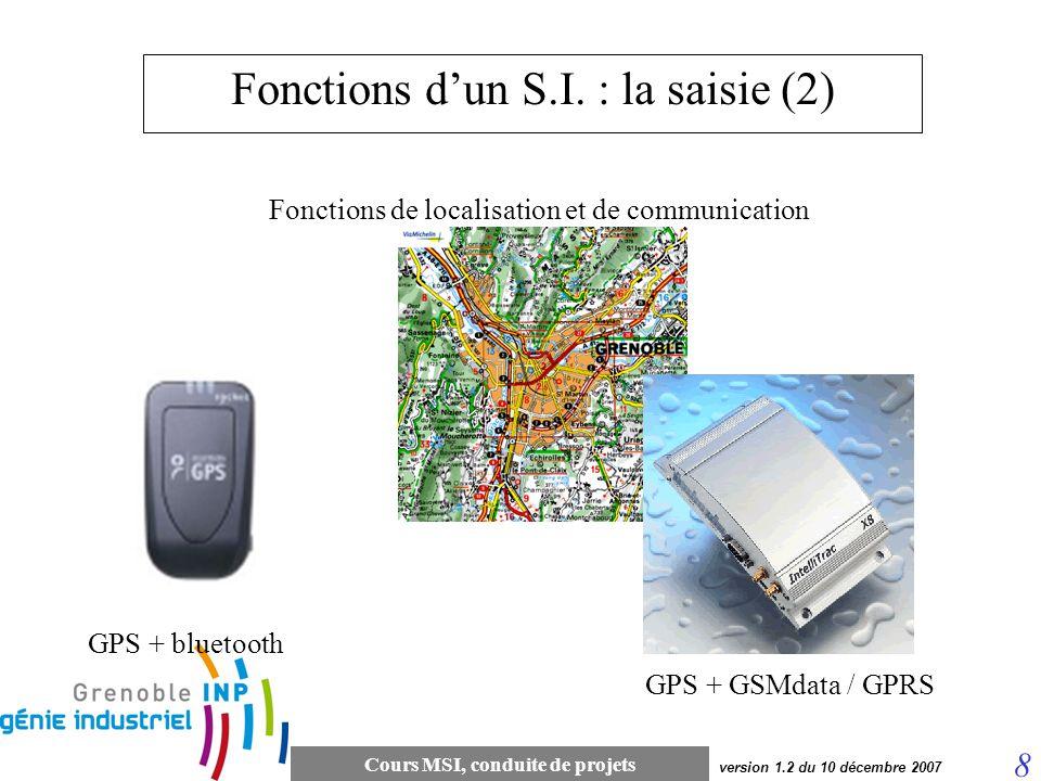 Cours MSI, conduite de projets 8 version 1.2 du 10 décembre 2007 Fonctions dun S.I. : la saisie (2) Fonctions de localisation et de communication GPS