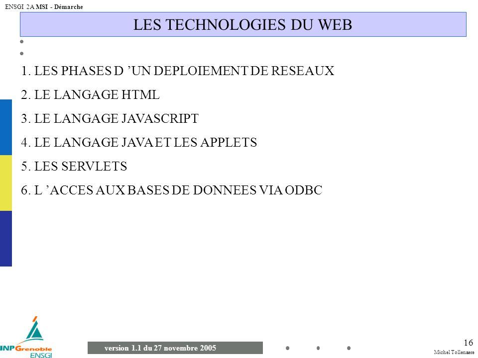 Michel Tollenaere version 1.1 du 27 novembre 2005 ENSGI 2A MSI - Démarche 16 LES TECHNOLOGIES DU WEB 1. LES PHASES D UN DEPLOIEMENT DE RESEAUX 2. LE L