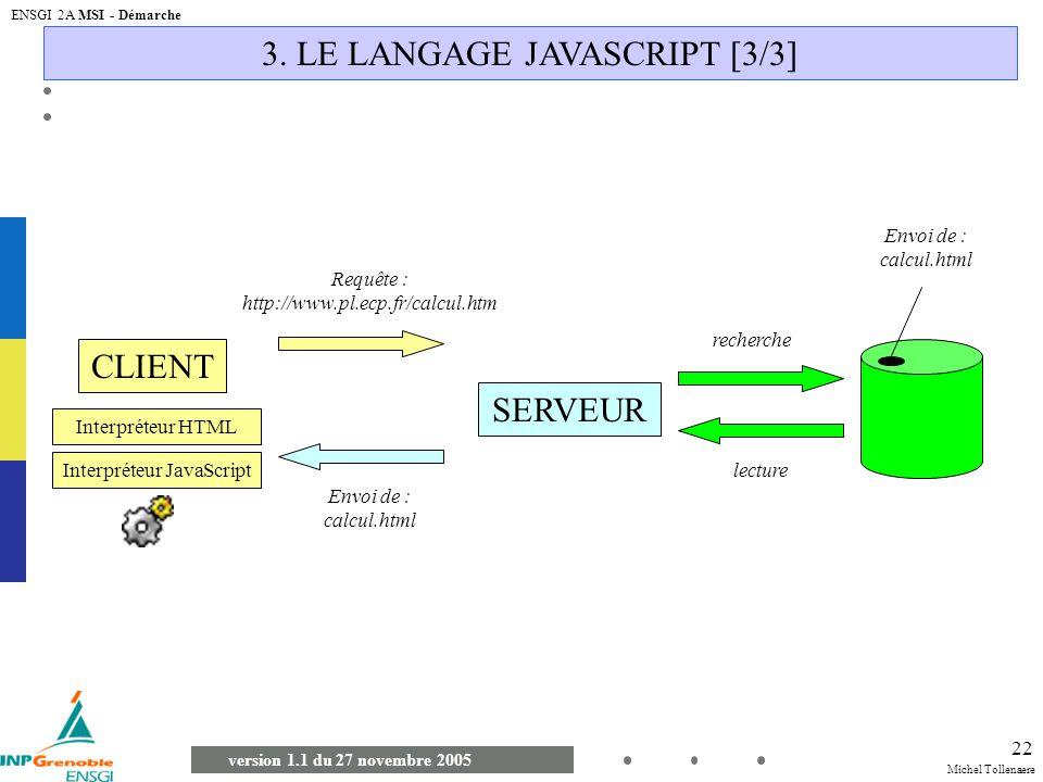 Michel Tollenaere version 1.1 du 27 novembre 2005 ENSGI 2A MSI - Démarche 22 3. LE LANGAGE JAVASCRIPT [3/3] CLIENT SERVEUR Requête : http://www.pl.ecp