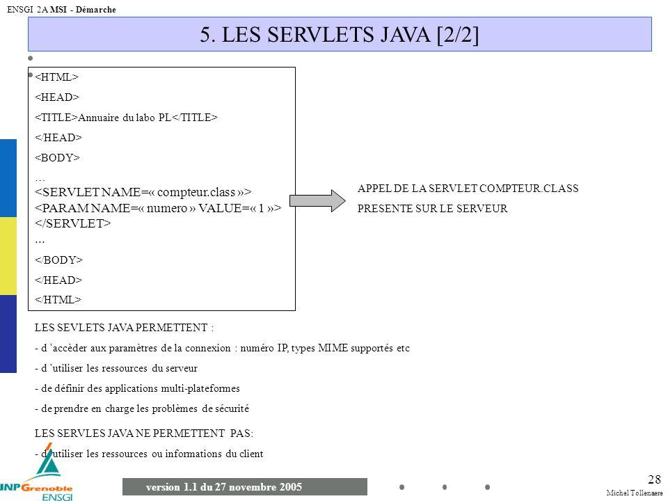 Michel Tollenaere version 1.1 du 27 novembre 2005 ENSGI 2A MSI - Démarche 28 5. LES SERVLETS JAVA [2/2] Annuaire du labo PL …... APPEL DE LA SERVLET C