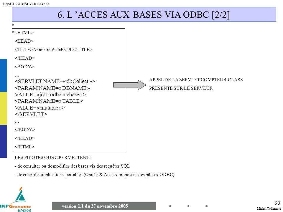 Michel Tollenaere version 1.1 du 27 novembre 2005 ENSGI 2A MSI - Démarche 30 6. L ACCES AUX BASES VIA ODBC [2/2] Annuaire du labo PL … VALUE=« matable