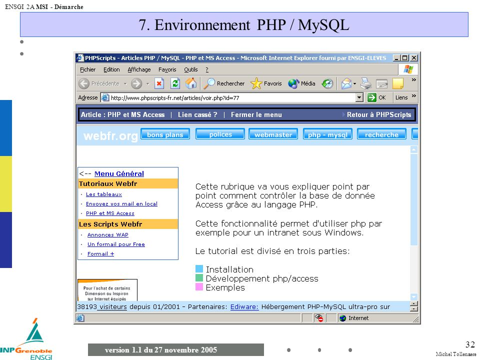 Michel Tollenaere version 1.1 du 27 novembre 2005 ENSGI 2A MSI - Démarche 32 7. Environnement PHP / MySQL