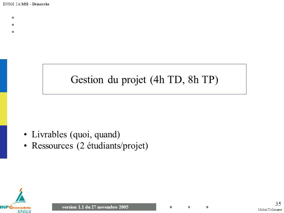 Michel Tollenaere version 1.1 du 27 novembre 2005 ENSGI 2A MSI - Démarche 35 Gestion du projet (4h TD, 8h TP) Livrables (quoi, quand) Ressources (2 ét
