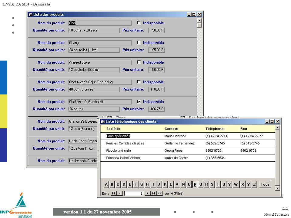 Michel Tollenaere version 1.1 du 27 novembre 2005 ENSGI 2A MSI - Démarche 44