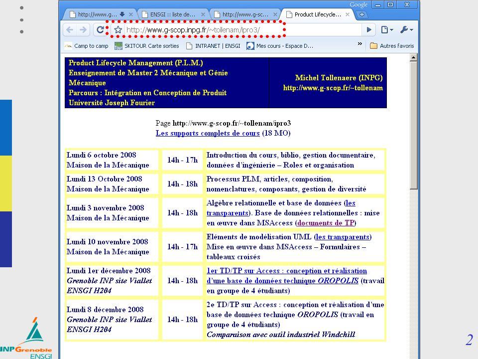 12 PLM / SGDT Master IPro3 Product Lifecycle Management (P.L.M.) Chapitre 1 : GED – CAO – maquette numérique Enseignement optionnel de 3 ème année ENSGI Michel Tollenaere (INPG) http://www.g-scop.fr/~tollenam/ipro3 1 GED – CAO – maquette numérique