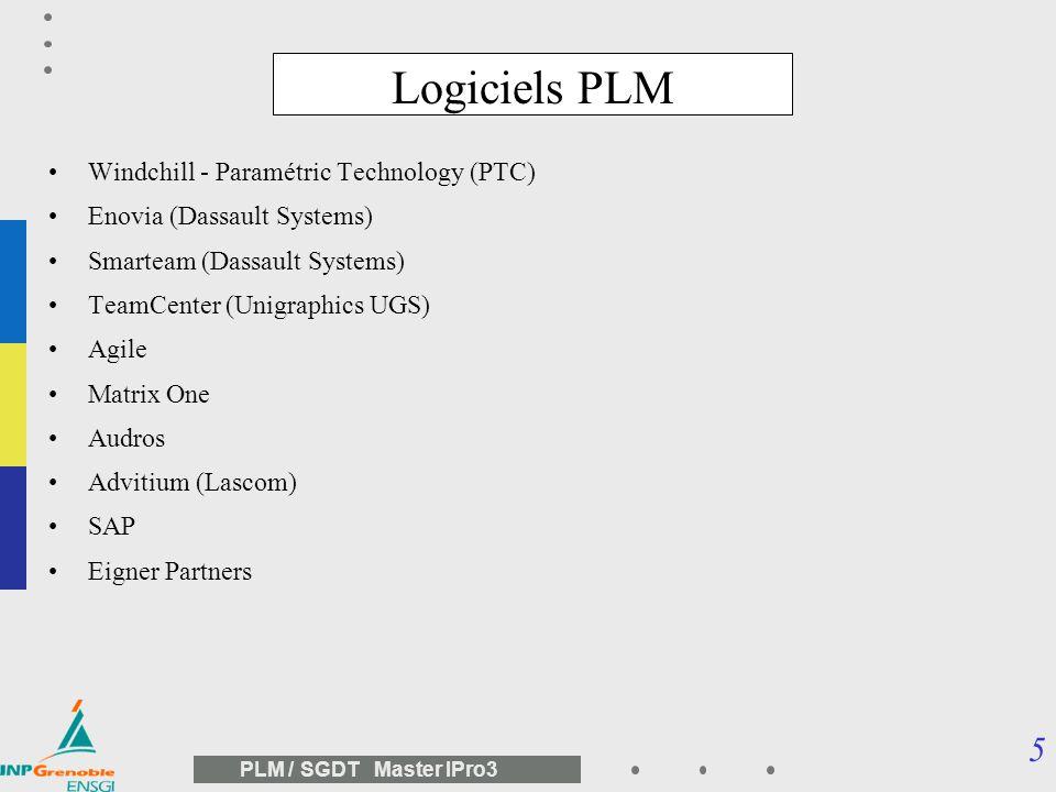 5 PLM / SGDT Master IPro3 Logiciels PLM Windchill - Paramétric Technology (PTC) Enovia (Dassault Systems) Smarteam (Dassault Systems) TeamCenter (Unigraphics UGS) Agile Matrix One Audros Advitium (Lascom) SAP Eigner Partners