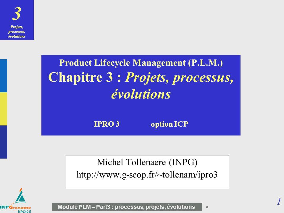 32 Module PLM – Part3 : processus, projets, évolutions Revue des contributions existantes PHENOMENE + TRAITEMENT EXIGENCES AMELIORATIONS GLOBALES DU TRAITEMENT AMELIORATIONS LOCALES DU TRAITEMENT Apparition et comportements des modifications [DAL82] [WAT84] [ECK01] Réponses industrielles [COU92] [HUA99] [KID00 ] + Compréhension du phénomène + Revue des réponses industrielles - Focalisés sur linterface conception / fabrication - Identification des problèmes mais pas daméliorations majeures PHENOMENE + TRAITEMENT Normes de gestion de configuration [ISO95] [DOD97] [BNA97] Identification de stratégies [FRI00] + Exigences et recommandations + Objectifs au niveau de lorganisation - Guide dapplication et damélioration - Pratique liée à la qualité EXIGENCES