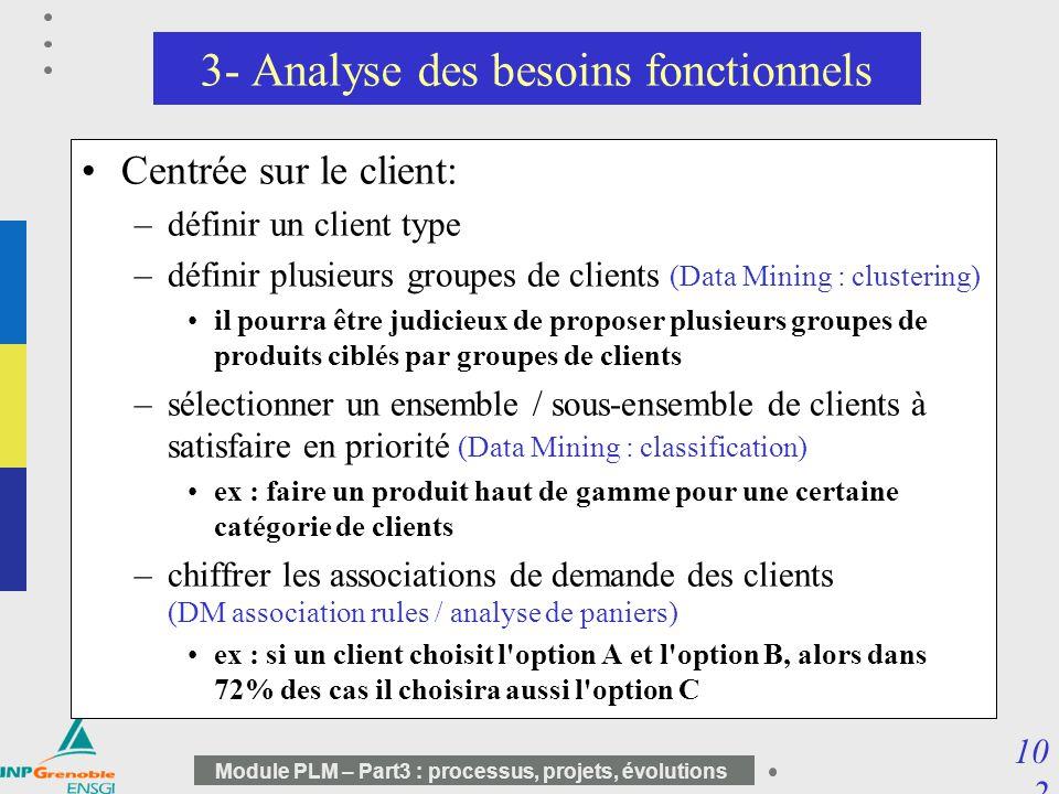 10 2 Module PLM – Part3 : processus, projets, évolutions 3- Analyse des besoins fonctionnels Centrée sur le client: –définir un client type –définir p