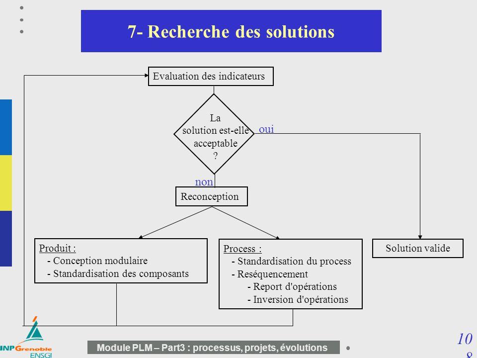 10 8 Module PLM – Part3 : processus, projets, évolutions 7- Recherche des solutions Evaluation des indicateurs Produit : - Conception modulaire - Stan