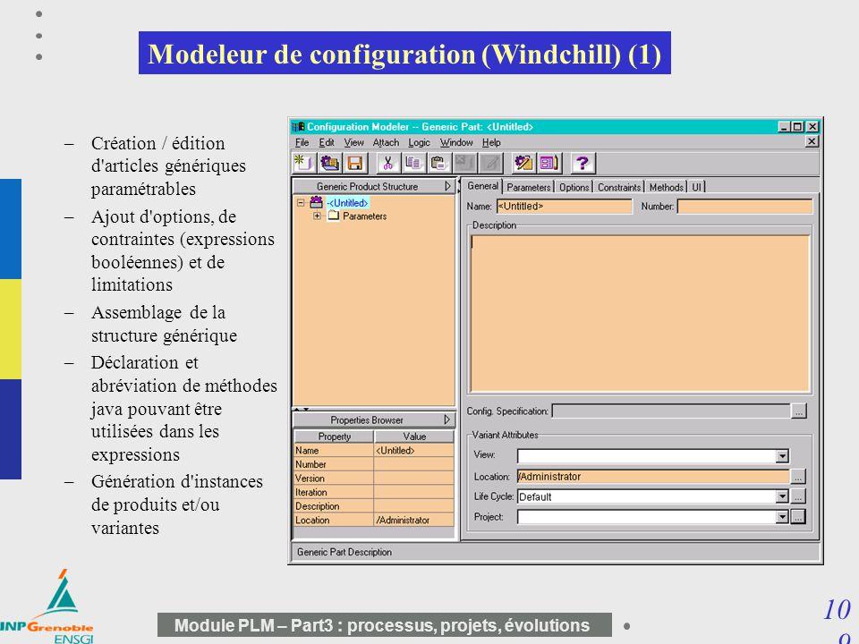 10 9 Module PLM – Part3 : processus, projets, évolutions Modeleur de configuration (Windchill) (1) –Création / édition d'articles génériques paramétra