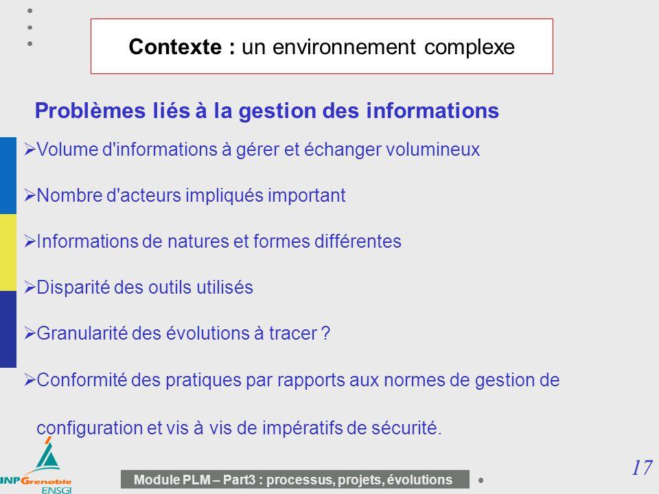 17 Module PLM – Part3 : processus, projets, évolutions Contexte : un environnement complexe Problèmes liés à la gestion des informations Volume d'info