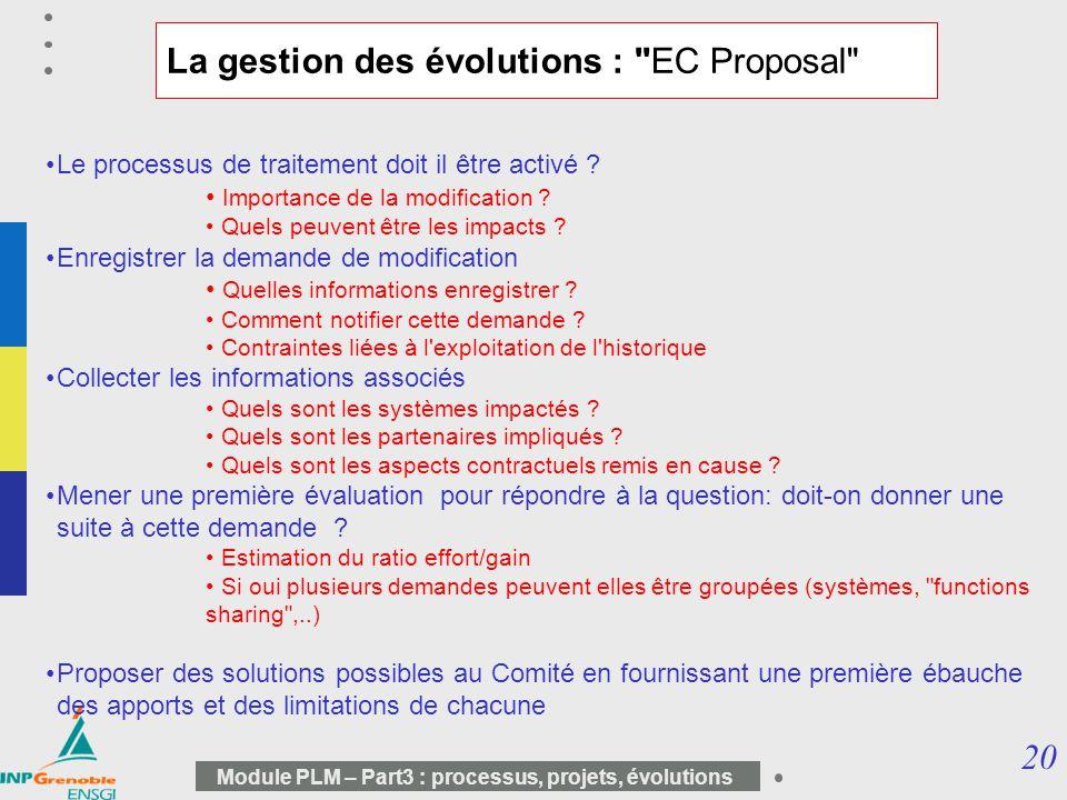 20 Module PLM – Part3 : processus, projets, évolutions La gestion des évolutions :