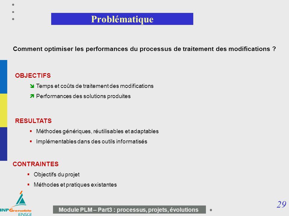 29 Module PLM – Part3 : processus, projets, évolutions Comment optimiser les performances du processus de traitement des modifications ? Problématique