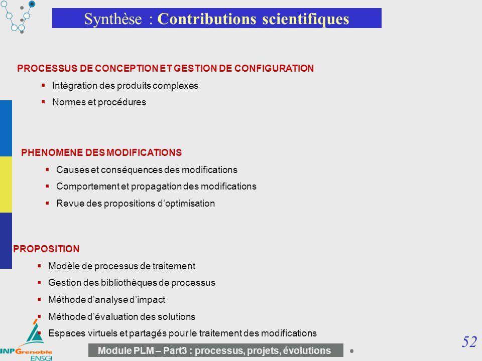 52 Module PLM – Part3 : processus, projets, évolutions Synthèse : Contributions scientifiques PROPOSITION Modèle de processus de traitement Gestion de