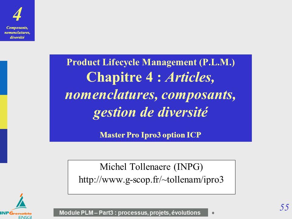55 Module PLM – Part3 : processus, projets, évolutions Product Lifecycle Management (P.L.M.) Chapitre 4 : Articles, nomenclatures, composants, gestion
