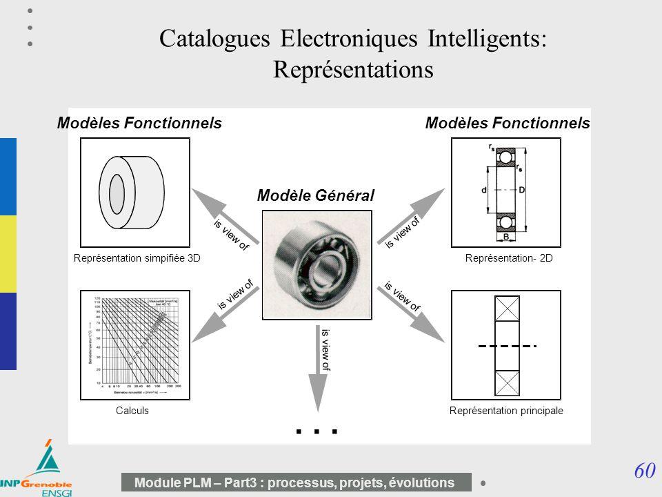 60 Module PLM – Part3 : processus, projets, évolutions Catalogues Electroniques Intelligents: Représentations Modèle Général Modèles Fonctionnels is v