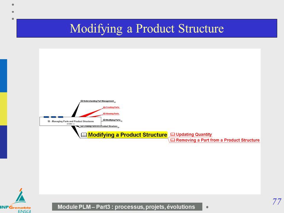 77 Module PLM – Part3 : processus, projets, évolutions Modifying a Product Structure