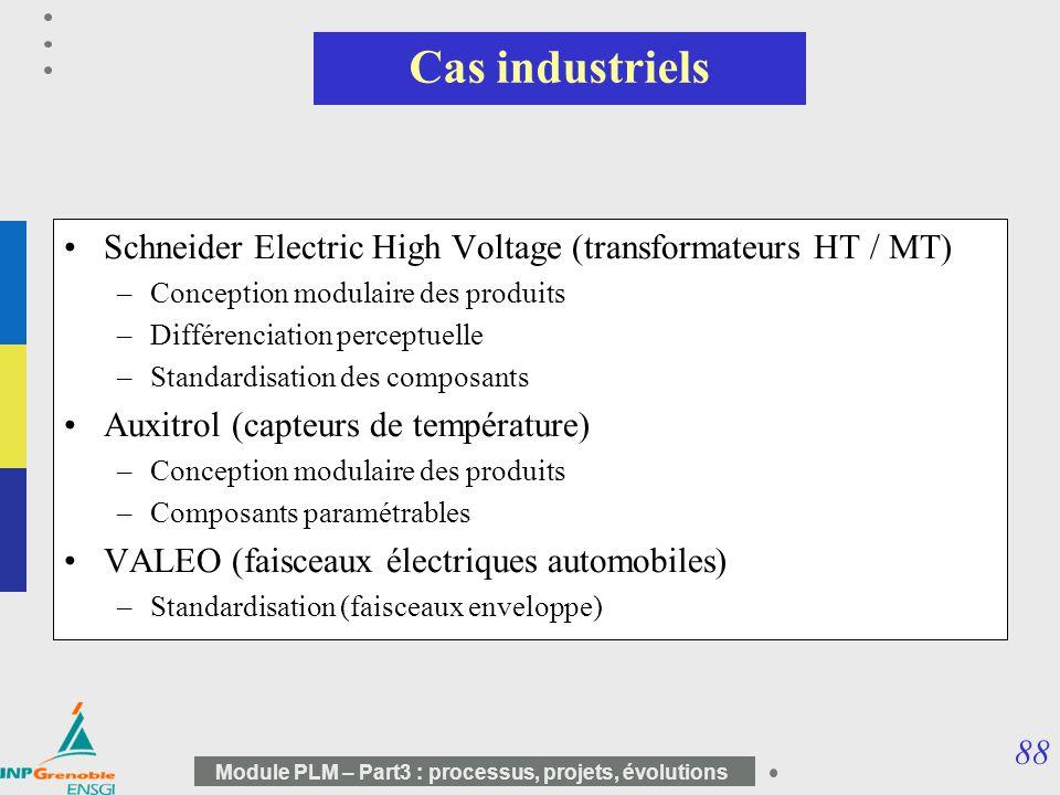 88 Module PLM – Part3 : processus, projets, évolutions Cas industriels Schneider Electric High Voltage (transformateurs HT / MT) –Conception modulaire