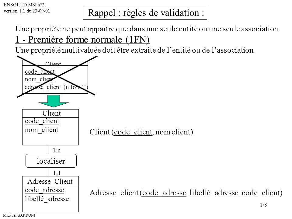 Mickaël GARDONI ENSGI, TD MSI n°2, version 1.1 du 23-09-01 1/3 Une propriété ne peut appaître que dans une seule entité ou une seule association 1 - Première forme normale (1FN) Une propriété multivaluée doit être extraite de lentité ou de lassociation Client code_client nom_client adresse_client (n fois !!) Client code_client nom_client Adresse_Client code_adresse libellé_adresse localiser 1,n 1,1 Client (code_client, nom client) Adresse_client (code_adresse, libellé_adresse, code_client) Rappel : règles de validation :