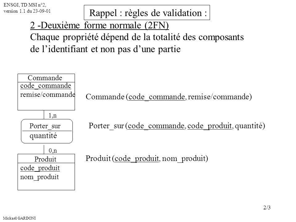 Mickaël GARDONI ENSGI, TD MSI n°2, version 1.1 du 23-09-01 2/3 2 -Deuxième forme normale (2FN) Chaque propriété dépend de la totalité des composants de lidentifiant et non pas dune partie Commande code_commande remise/commande Produit code_produit nom_produit 1,n 0,n Commande (code_commande, remise/commande) Produit (code_produit, nom_produit) Porter_sur quantité Porter_sur (code_commande, code_produit, quantité) Rappel : règles de validation :
