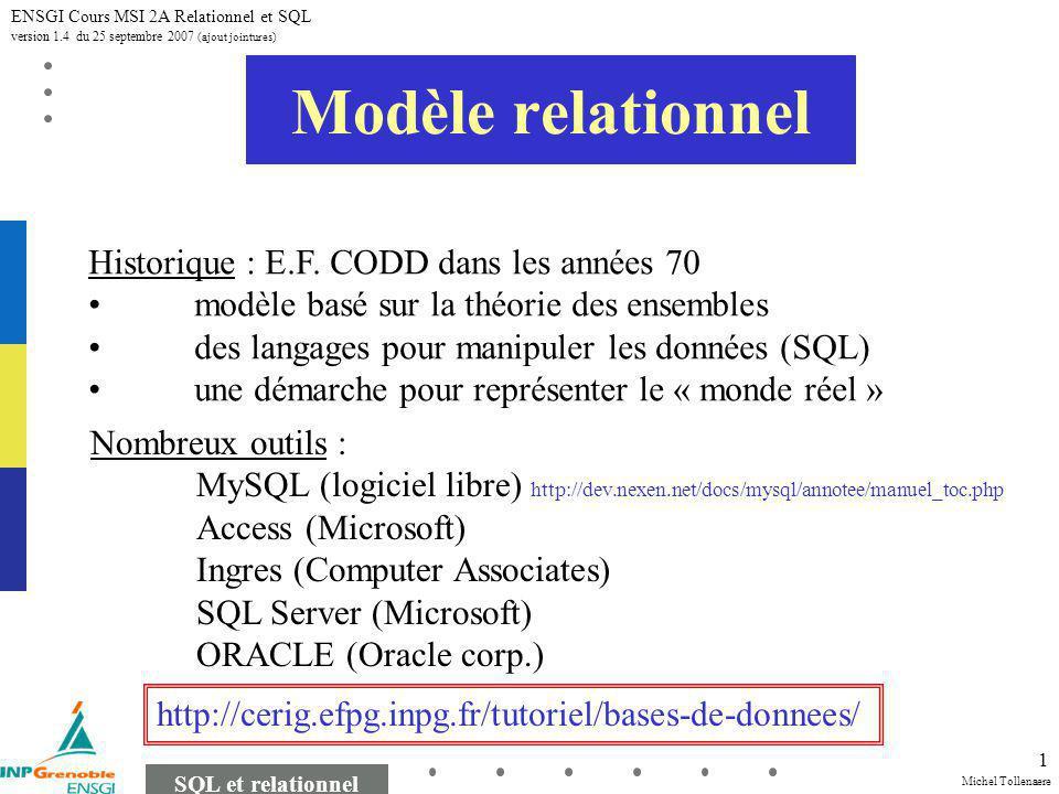 Michel Tollenaere SQL et relationnel ENSGI Cours MSI 2A Relationnel et SQL version 1.4 du 25 septembre 2007 (ajout jointures) 1 Modèle relationnel Historique : E.F.