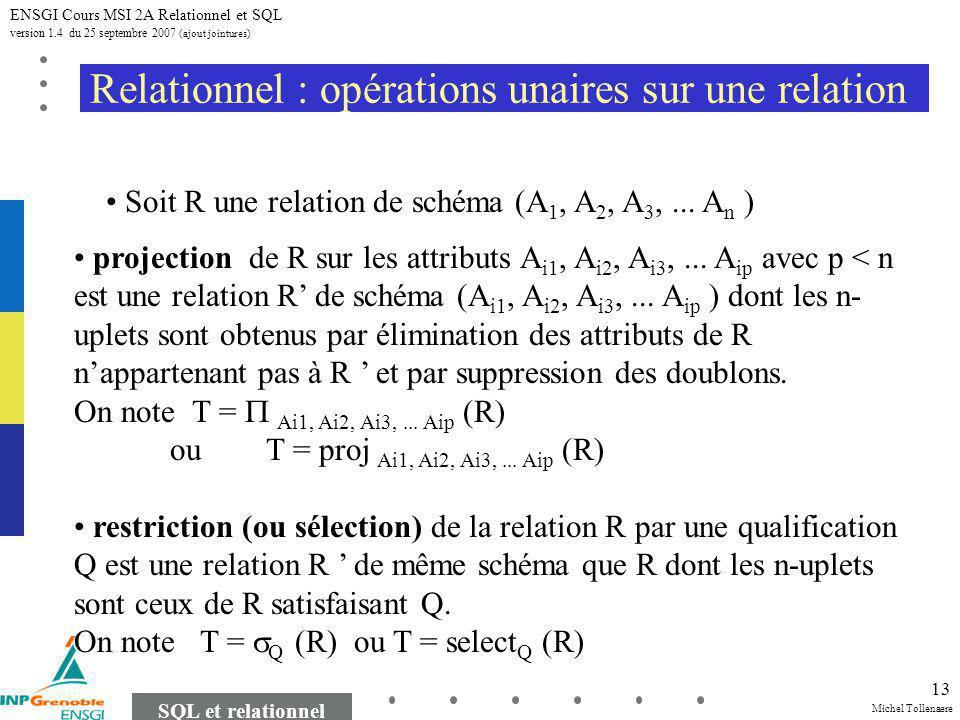 Michel Tollenaere SQL et relationnel ENSGI Cours MSI 2A Relationnel et SQL version 1.4 du 25 septembre 2007 (ajout jointures) 13 Relationnel : opérations unaires sur une relation projection de R sur les attributs A i1, A i2, A i3,...