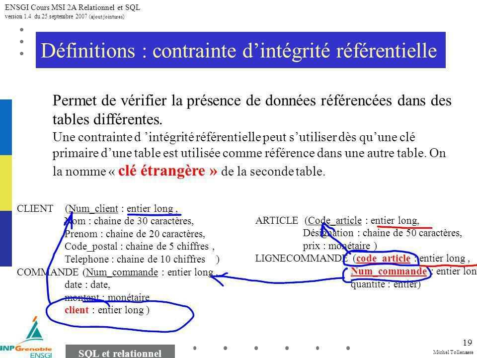 Michel Tollenaere SQL et relationnel ENSGI Cours MSI 2A Relationnel et SQL version 1.4 du 25 septembre 2007 (ajout jointures) 19 Définitions : contrainte dintégrité référentielle Permet de vérifier la présence de données référencées dans des tables différentes.