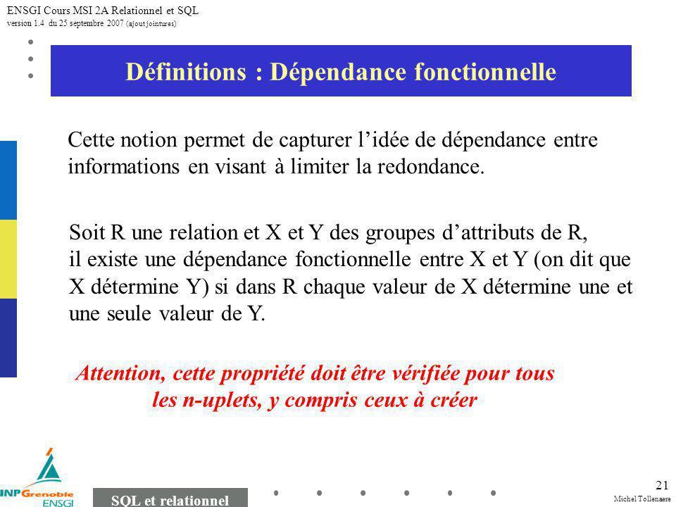 Michel Tollenaere SQL et relationnel ENSGI Cours MSI 2A Relationnel et SQL version 1.4 du 25 septembre 2007 (ajout jointures) 21 Définitions : Dépenda