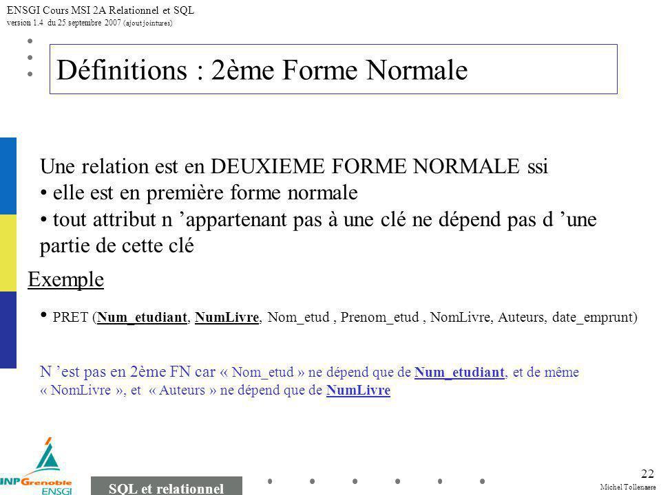 Michel Tollenaere SQL et relationnel ENSGI Cours MSI 2A Relationnel et SQL version 1.4 du 25 septembre 2007 (ajout jointures) 22 Définitions : 2ème Fo