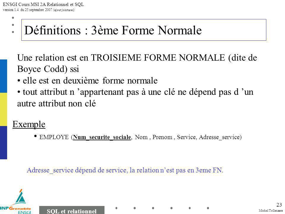 Michel Tollenaere SQL et relationnel ENSGI Cours MSI 2A Relationnel et SQL version 1.4 du 25 septembre 2007 (ajout jointures) 23 Définitions : 3ème Forme Normale EMPLOYE (Num_securite_sociale, Nom, Prenom, Service, Adresse_service) Une relation est en TROISIEME FORME NORMALE (dite de Boyce Codd) ssi elle est en deuxième forme normale tout attribut n appartenant pas à une clé ne dépend pas d un autre attribut non clé Exemple Adresse_service dépend de service, la relation nest pas en 3eme FN.