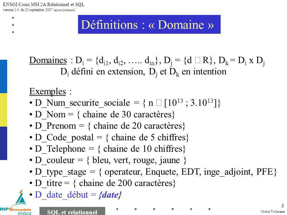 Michel Tollenaere SQL et relationnel ENSGI Cours MSI 2A Relationnel et SQL version 1.4 du 25 septembre 2007 (ajout jointures) 3 Définitions : « Domaine » Domaines : D i = {d i1, d i2, …..