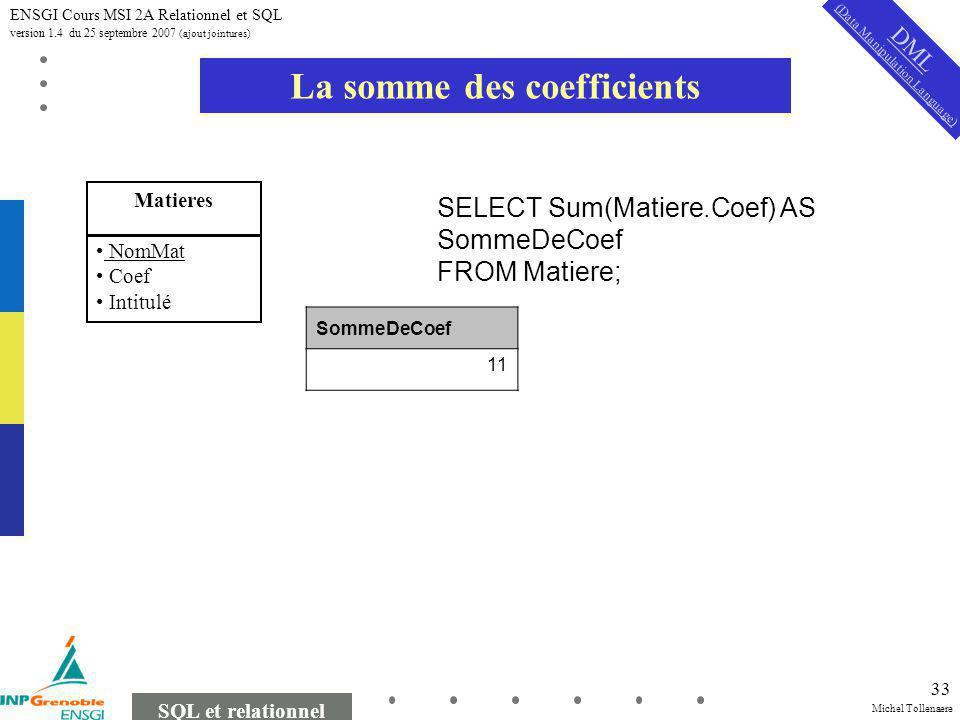 Michel Tollenaere SQL et relationnel ENSGI Cours MSI 2A Relationnel et SQL version 1.4 du 25 septembre 2007 (ajout jointures) 33 La somme des coefficients Matieres NomMat Coef Intitulé SELECT Sum(Matiere.Coef) AS SommeDeCoef FROM Matiere; SommeDeCoef 11 DML (Data Manipulation Language)
