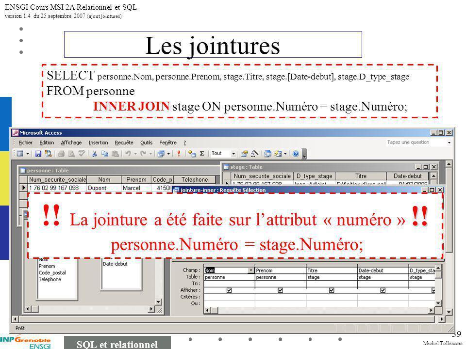 Michel Tollenaere SQL et relationnel ENSGI Cours MSI 2A Relationnel et SQL version 1.4 du 25 septembre 2007 (ajout jointures) 39 Les jointures SELECT