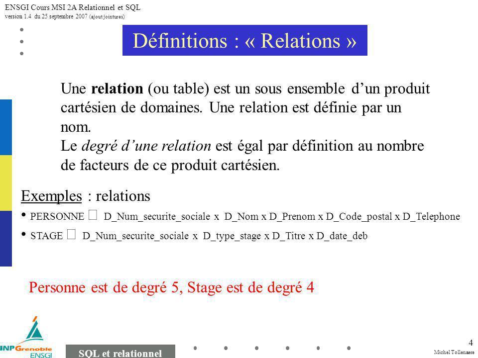 Michel Tollenaere SQL et relationnel ENSGI Cours MSI 2A Relationnel et SQL version 1.4 du 25 septembre 2007 (ajout jointures) 4 Définitions : « Relations » Une relation (ou table) est un sous ensemble dun produit cartésien de domaines.