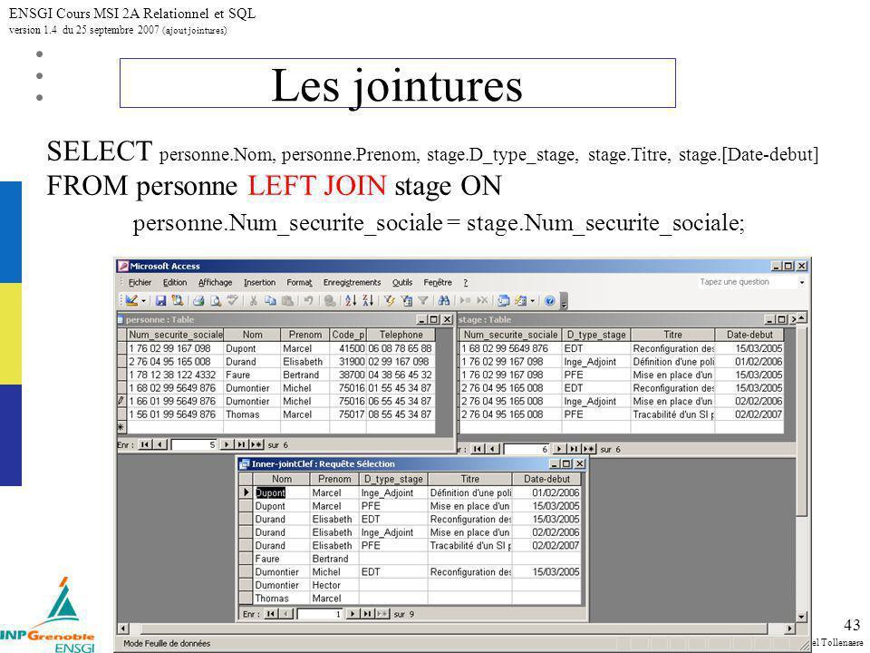 Michel Tollenaere SQL et relationnel ENSGI Cours MSI 2A Relationnel et SQL version 1.4 du 25 septembre 2007 (ajout jointures) 43 Les jointures SELECT personne.Nom, personne.Prenom, stage.D_type_stage, stage.Titre, stage.[Date-debut] FROM personne LEFT JOIN stage ON personne.Num_securite_sociale = stage.Num_securite_sociale;