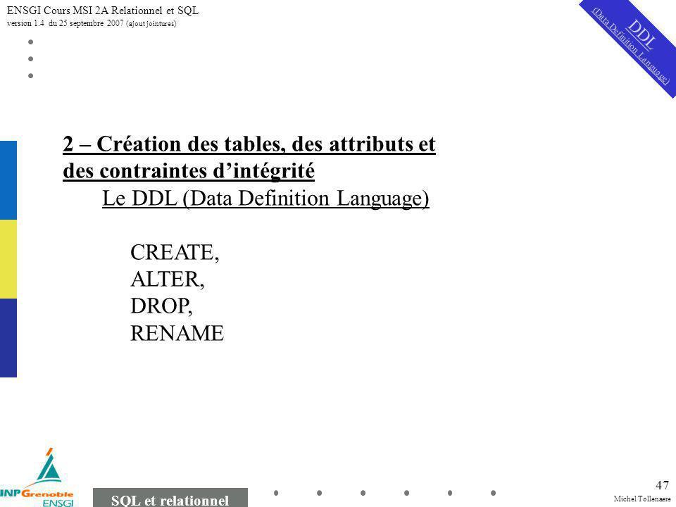 Michel Tollenaere SQL et relationnel ENSGI Cours MSI 2A Relationnel et SQL version 1.4 du 25 septembre 2007 (ajout jointures) 47 DDL (Data Definition Language) 2 – Création des tables, des attributs et des contraintes dintégrité Le DDL (Data Definition Language) CREATE, ALTER, DROP, RENAME