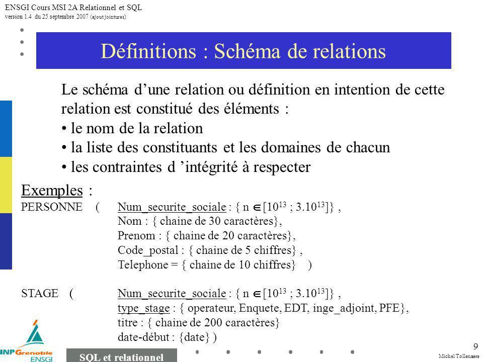 Michel Tollenaere SQL et relationnel ENSGI Cours MSI 2A Relationnel et SQL version 1.4 du 25 septembre 2007 (ajout jointures) 9 Définitions : Schéma de relations Le schéma dune relation ou définition en intention de cette relation est constitué des éléments : le nom de la relation la liste des constituants et les domaines de chacun les contraintes d intégrité à respecter Exemples : PERSONNE (Num_securite_sociale : { n [10 13 ; 3.10 13 ]}, Nom : { chaine de 30 caractères}, Prenom : { chaine de 20 caractères}, Code_postal : { chaine de 5 chiffres}, Telephone = { chaine de 10 chiffres} ) STAGE Num_securite_sociale : { n [10 13 ; 3.10 13 ]}, type_stage : { operateur, Enquete, EDT, inge_adjoint, PFE}, titre : { chaine de 200 caractères} date-début : {date} )