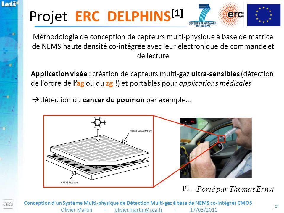 21 Conception dun Système Multi-physique de Détection Multi-gaz à base de NEMS co-intégrés CMOS Olivier Martin - olivier.martin@cea.fr - 17/03/2011 Pr