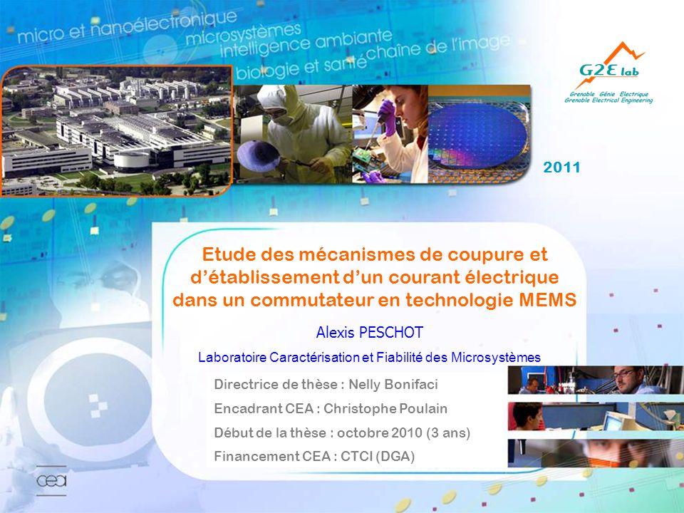 2011 Alexis PESCHOT Laboratoire Caractérisation et Fiabilité des Microsystèmes Etude des mécanismes de coupure et détablissement dun courant électriqu