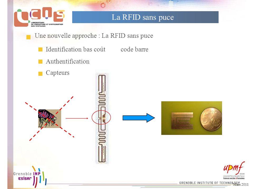 La RFID sans puce Une nouvelle approche : La RFID sans puce Identification bas coûtcode barre Authentification Capteurs Mars 2011