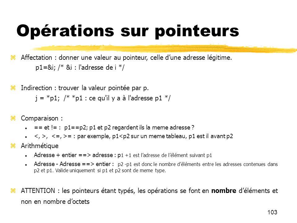 103 Opérations sur pointeurs Affectation : donner une valeur au pointeur, celle dune adresse légitime. p1=&i; /* &i : l'adresse de i */ Indirection :
