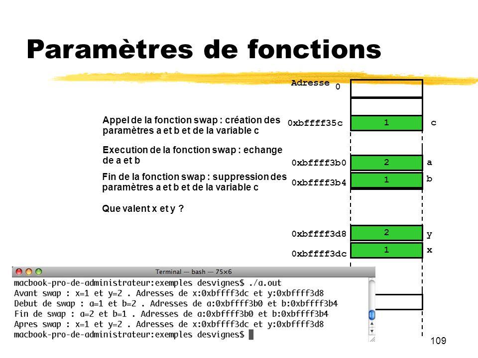 109 Paramètres de fonctions 1 2 0 Adresse y … x 2 1 0xbffff3b0 a b 0xbffff3b4 0xbffff3d8 0xbffff3dc 1 2 Appel de la fonction swap : création des param